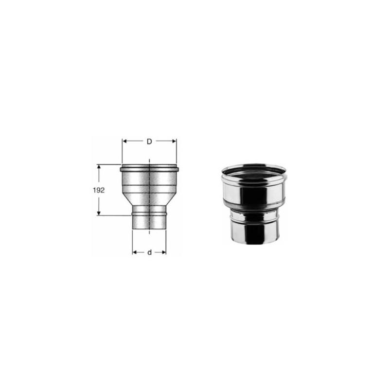 Riduzione e//o aumento di diametro in acciaio inox per canna fumaria DN 80-100